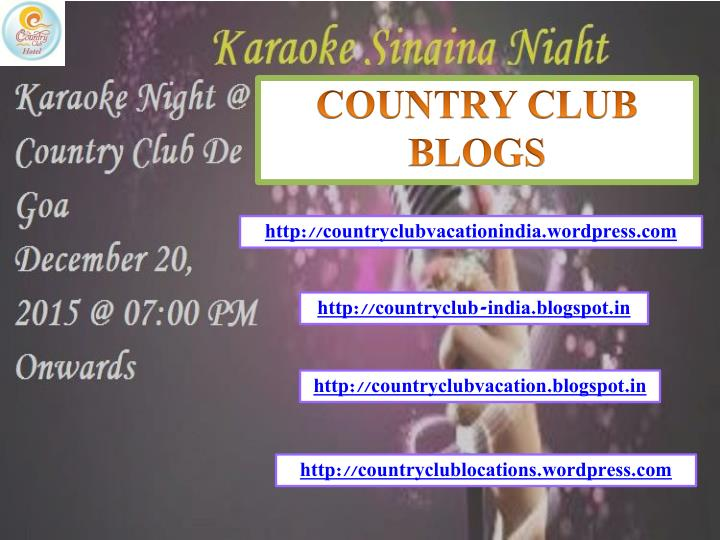 COUNTRY CLUB BLOGS
