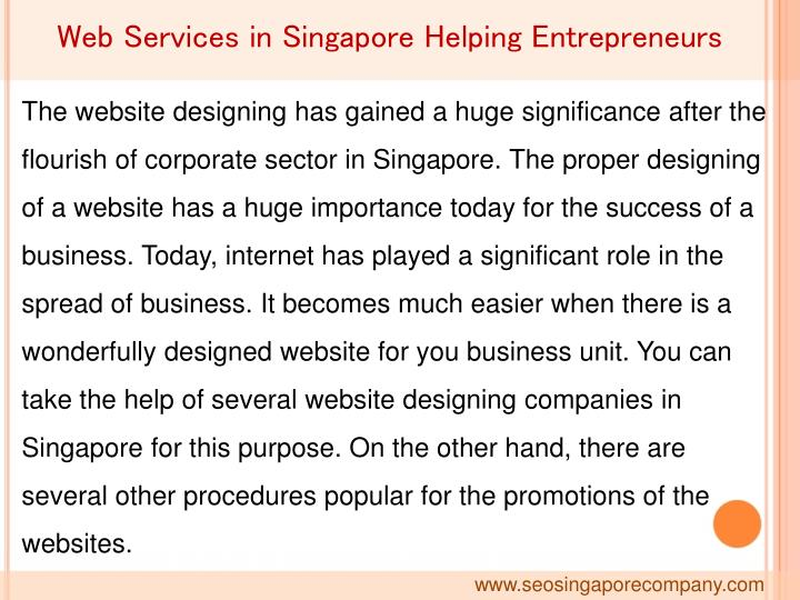 Web Services in Singapore Helping Entrepreneurs