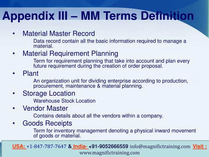 Appendix III – MM Terms Definition