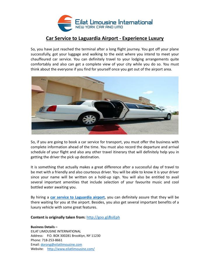 Car Service to Laguardia Airport - Experience Luxury