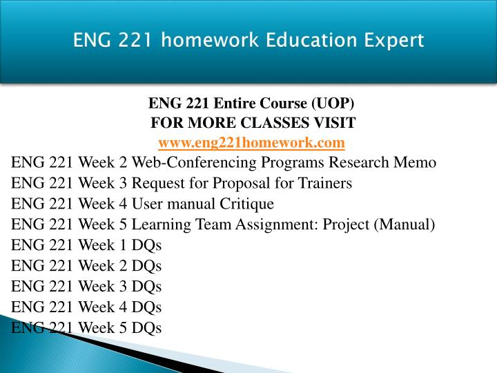 eng 221 user manual and presentation