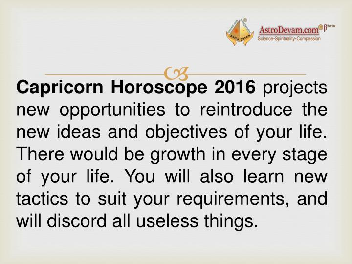 Capricorn Horoscope 2016