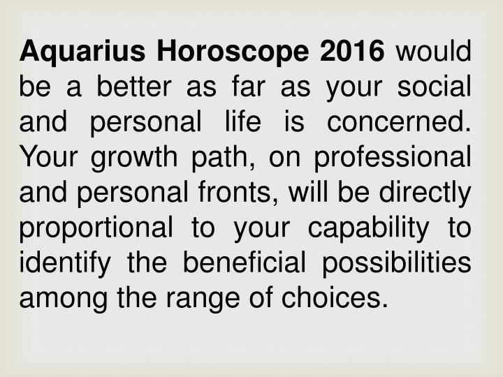 Aquarius Horoscope 2016