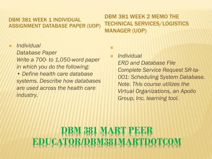 Dbm 381 mart peer educator dbm381martdotcom1