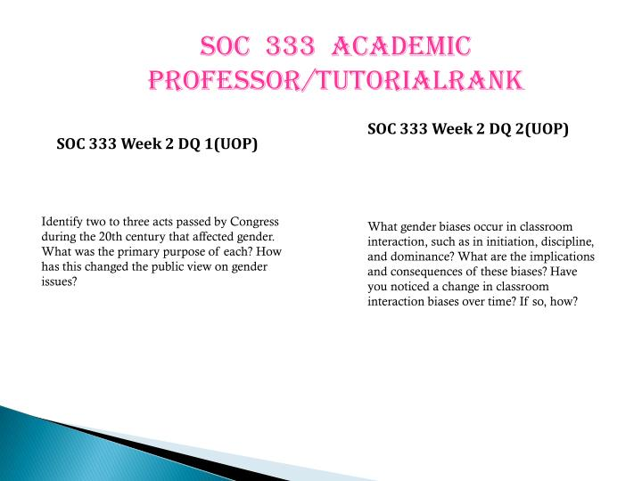 SOC  333  ACADEMIC PROFESSOR/TUTORIALRANK