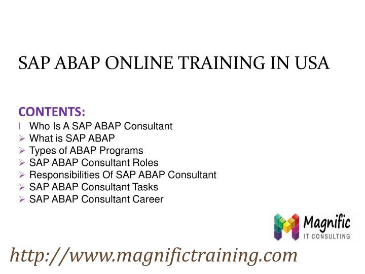 SAP ABAP ONLINE TRAINING IN USA