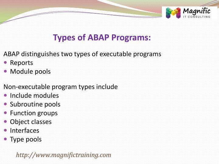 Types of ABAP Programs: