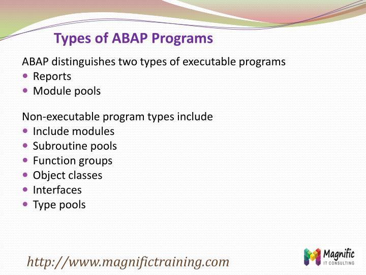 Types of ABAP Programs