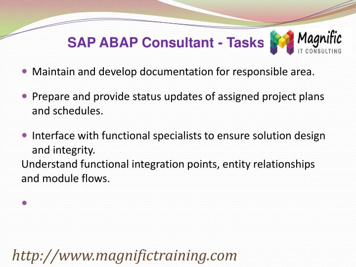 SAP ABAP Consultant - Tasks