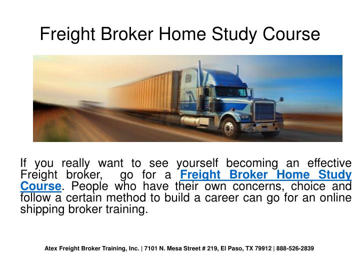 Freight Broker Home Study Course
