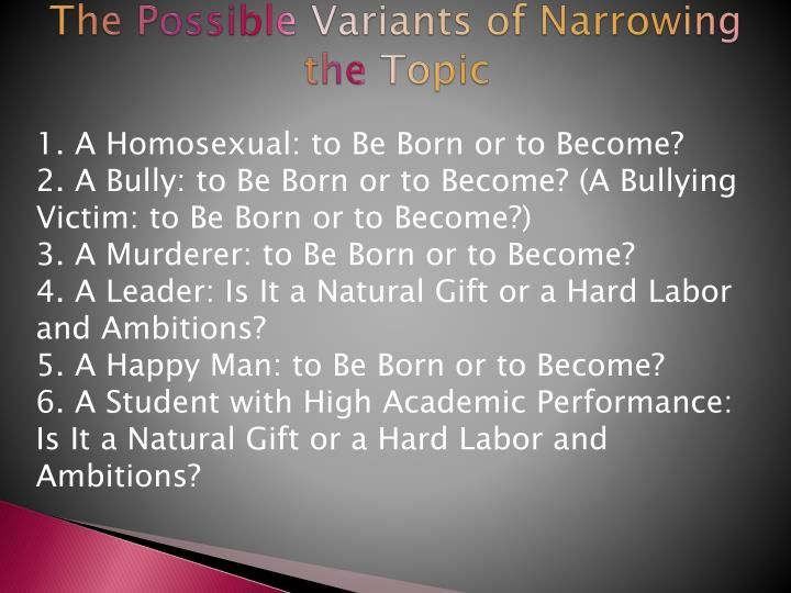 The Possible Variants of Narrowing the Topic