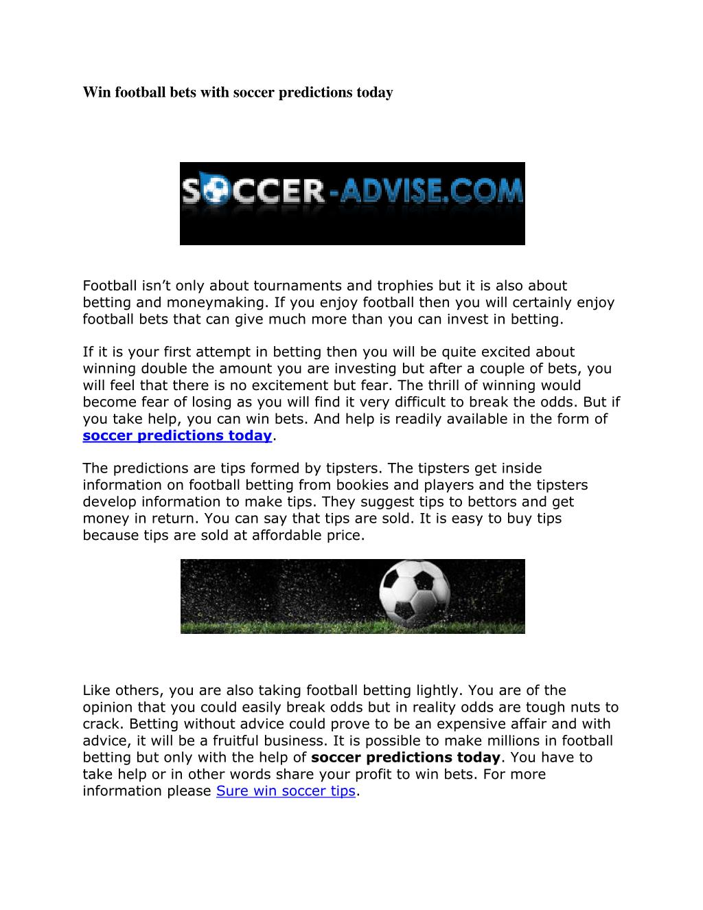 PPT - Win football bets with soccer predictions today