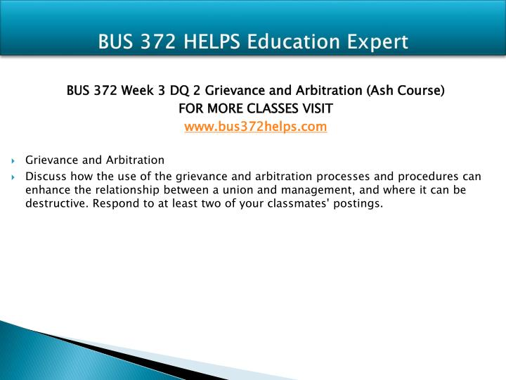 BUS 372 HELPS Education Expert