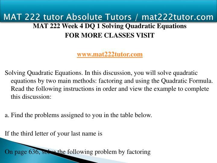 MAT 222 tutor Absolute Tutors / mat222tutor.com