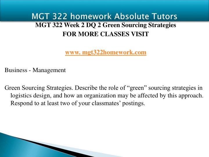 MGT 322 homework Absolute Tutors