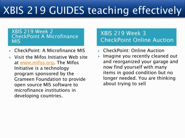 XBIS 219 GUIDES teaching effectively