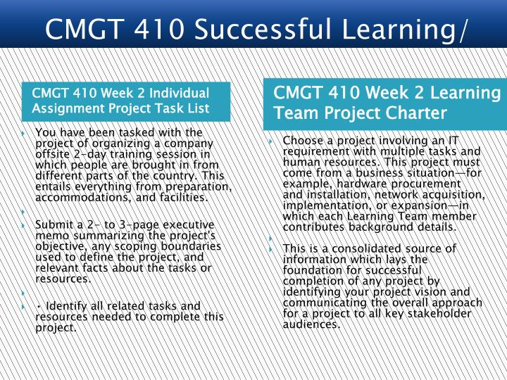 wk1 cmgt 410 individual assignment Here is the best resource for homework help with cmgt 557 : emerging  technologies and issues at university of phoenix  all (75) assessments  assignments essays (25) homework help (9) lab  individual innovation in an  organization university of phoenix strategic  cmgt 410 - cmgt/410 (312  documents.