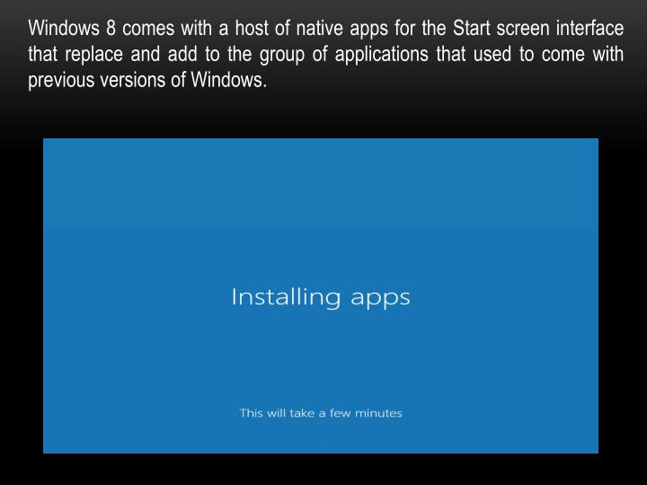 Windows 8 comes with a host of native apps for the Start screen interface that replace and add to the group of applications that used to come with previous versions of Windows