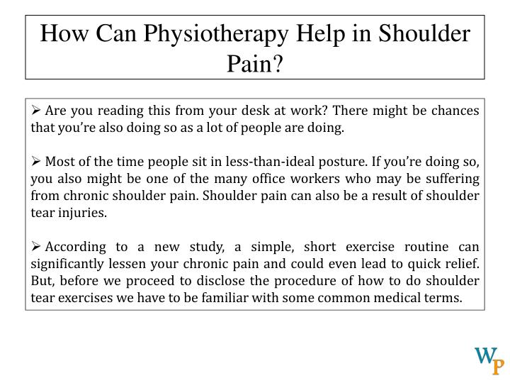 How can physiotherapy help in shoulder pain1