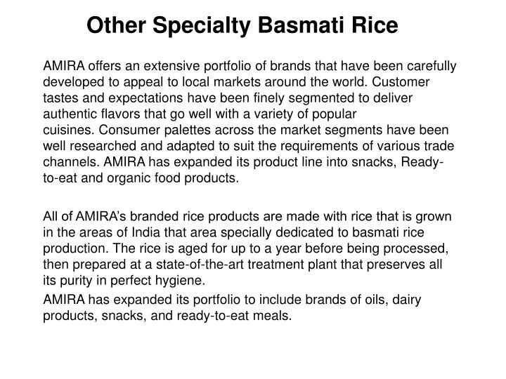 other specialty basmati rice n.