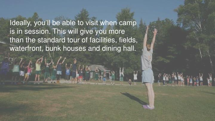 Ideally, you'll be able to visit when camp