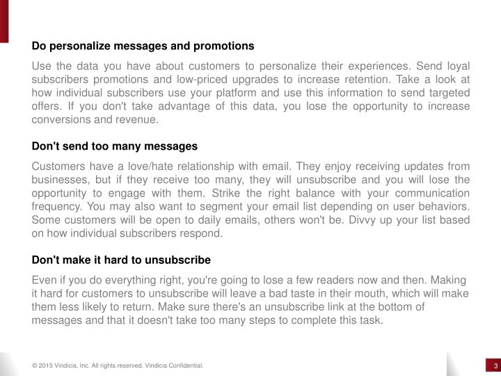 Do personalize messages and promotions