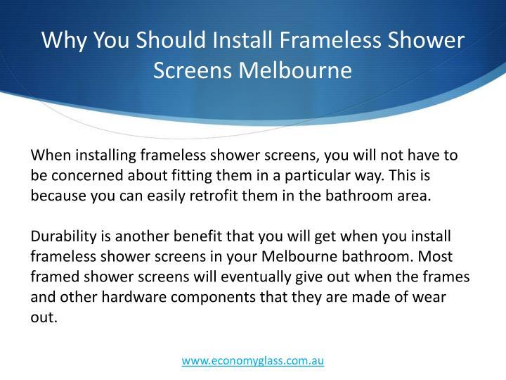 Why You Should Install Frameless Shower Screens Melbourne