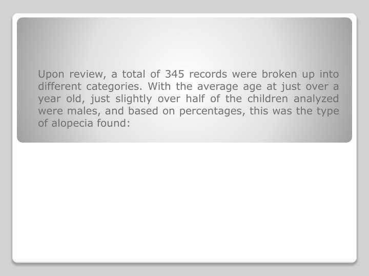 Upon review, a total of 345 records were broken up into different categories. With the average age a...