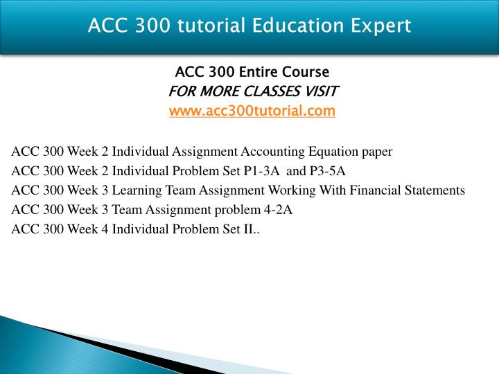 accounting equation paper Acc 300 week 2 individual assignment accounting equation paper (3 papers) for more classes visit wwwacc300geniuscom this tutorial contains 3 different papers write a 350-word essay describing the accounting equation include how the accounting equation relates to the components of the balance sheet, provide examples that show how the components of the accounting equation.