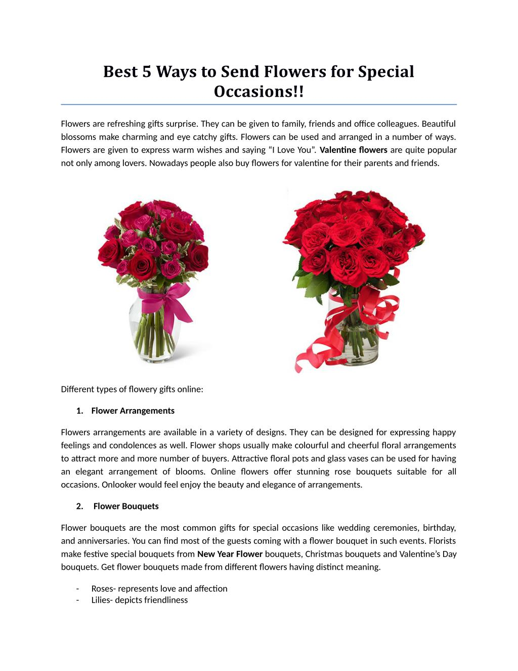 Best 5 Ways To Send Flowers For Special Occasions