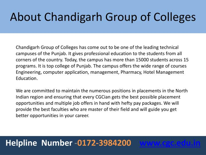 About chandigarh group of colleges