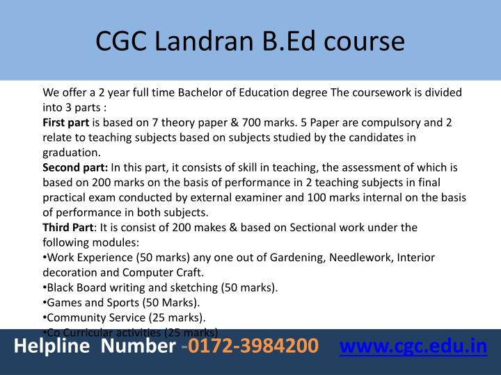 Cgc landran b ed course