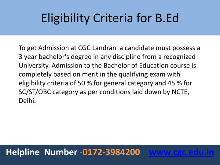 To get Admission at CGC