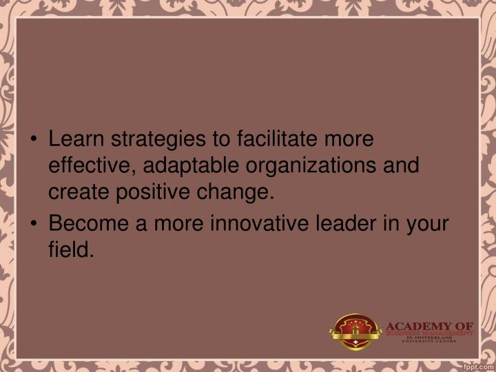 Learn strategies to facilitate more effective, adaptable organizations and create positive change.