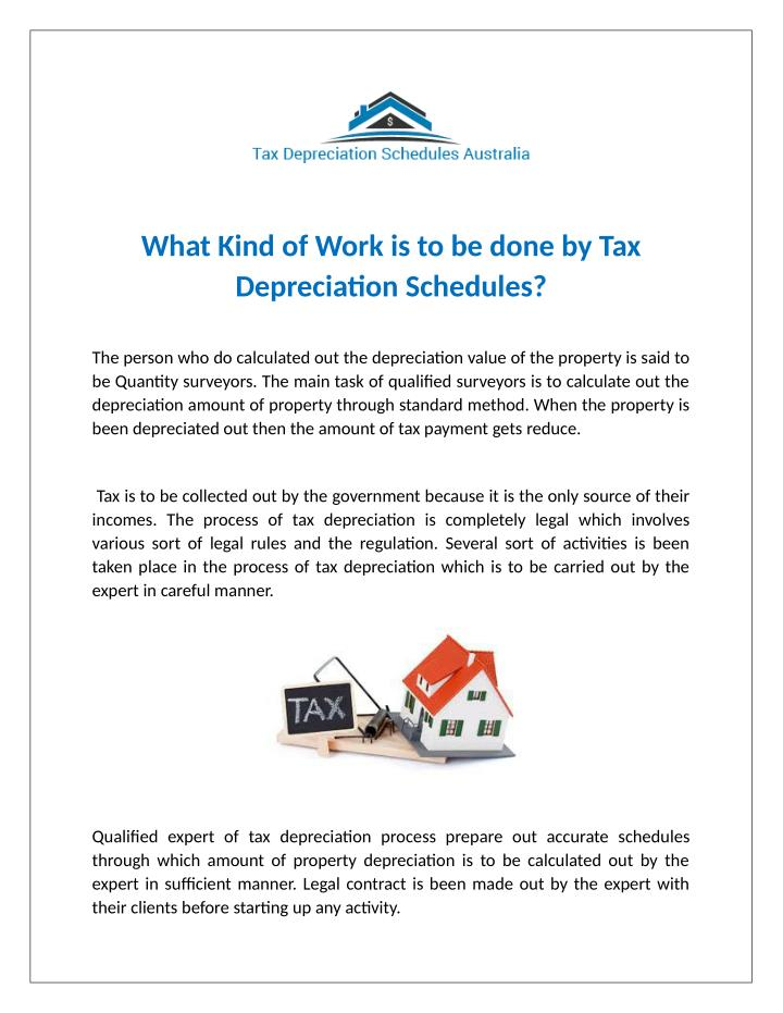 What Kind of Work is to be done by Tax