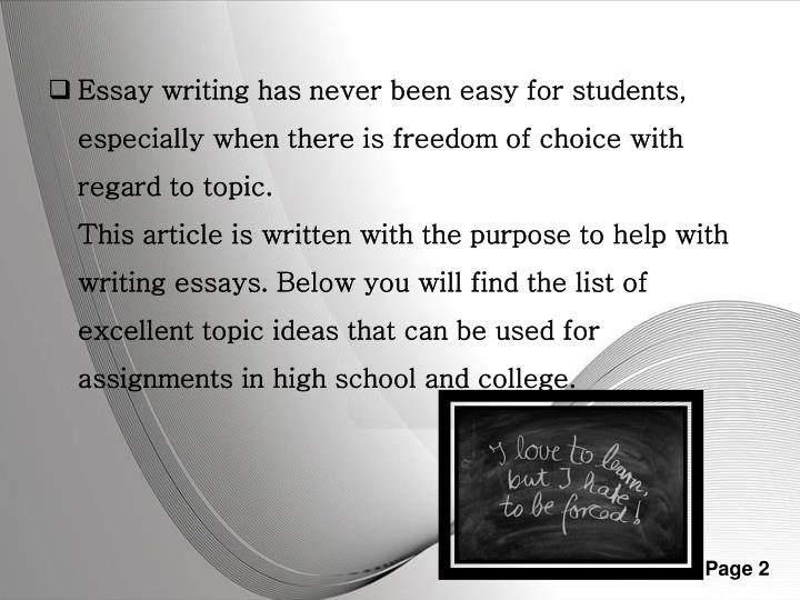 easy photo essay topics Photo essay assignment author racheal m the top ten most controversial topics for research paper topics typically become controversial when people have competing.