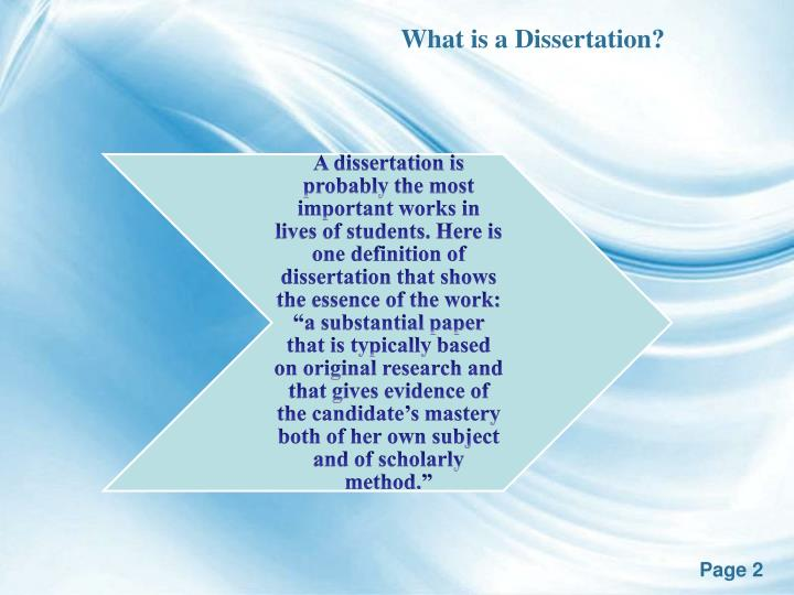 definition of dissertation paper The importance of defining all terms in your dissertation dissertation is a voluminous and very complex work which has to be completed and defended by a student in order for him or her to earn a phd degree.