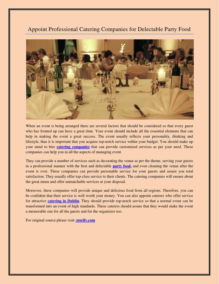 Appoint Professional Catering Companies for Delectable Party Food