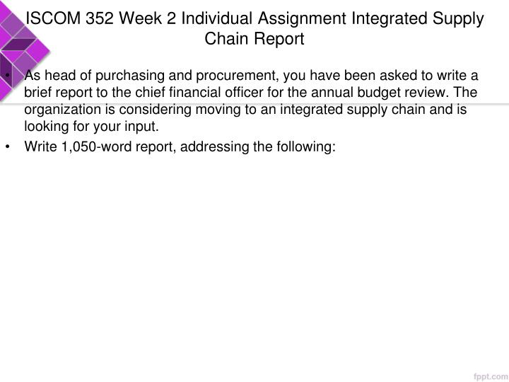 ISCOM 352 Week 2 Individual Assignment Integrated Supply Chain Report