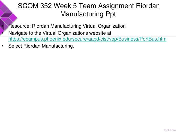 ISCOM 352 Week 5 Team Assignment Riordan Manufacturing