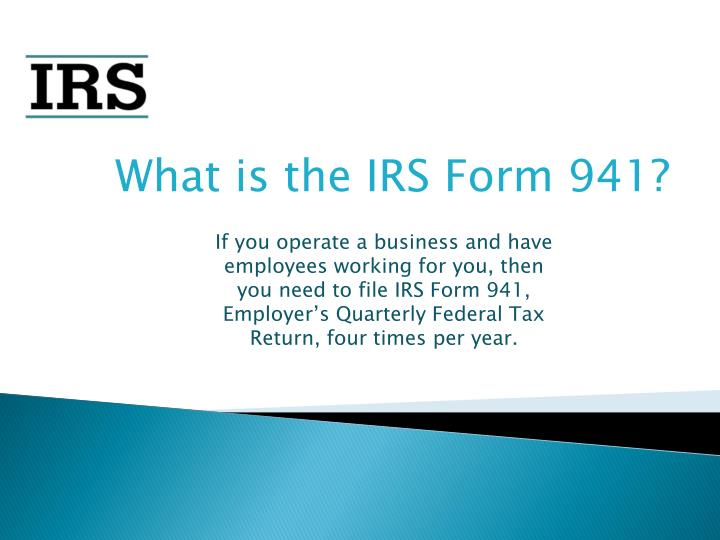Ccc Form 941ppt Get Knowledge About Irs Tax Form 941 Powerpoint