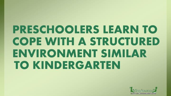 PRESCHOOLERS LEARN TO COPE WITH A STRUCTURED ENVIRONMENT SIMILAR
