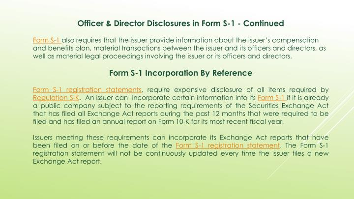 Officer & Director Disclosures