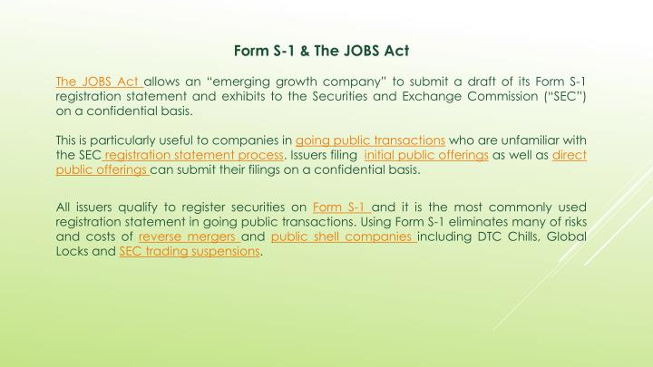 Form S-1 & The JOBS Act