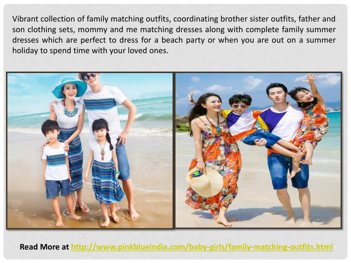 Vibrant collection of family matching outfits, coordinating brother sister outfits, father and son c...