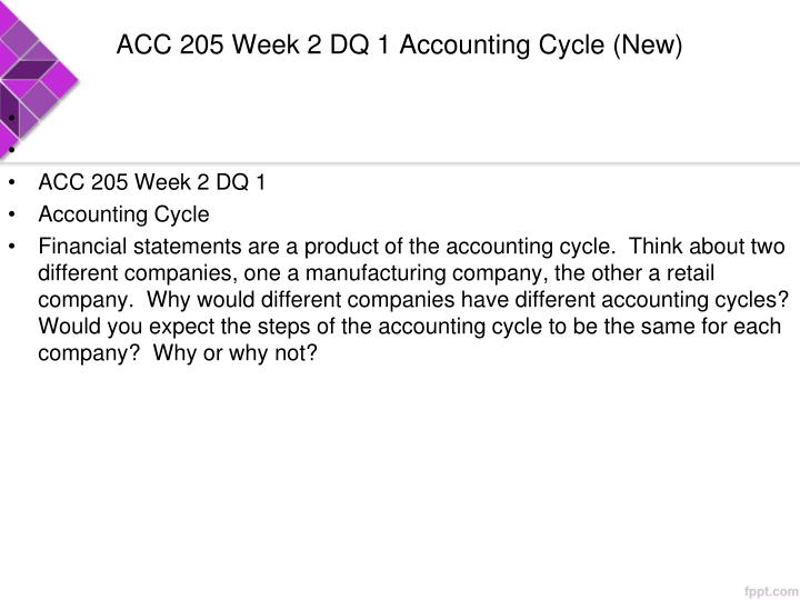 ACC 205 Week 2 DQ 1 Accounting Cycle (New)