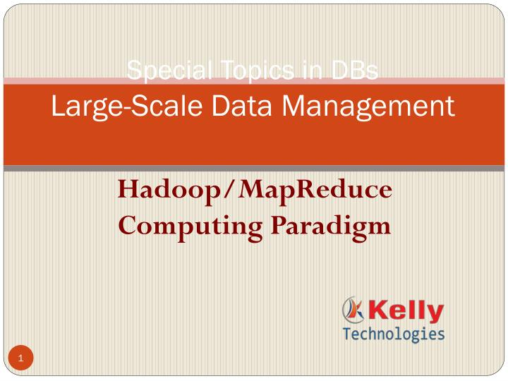 special topics in dbs large scale data management