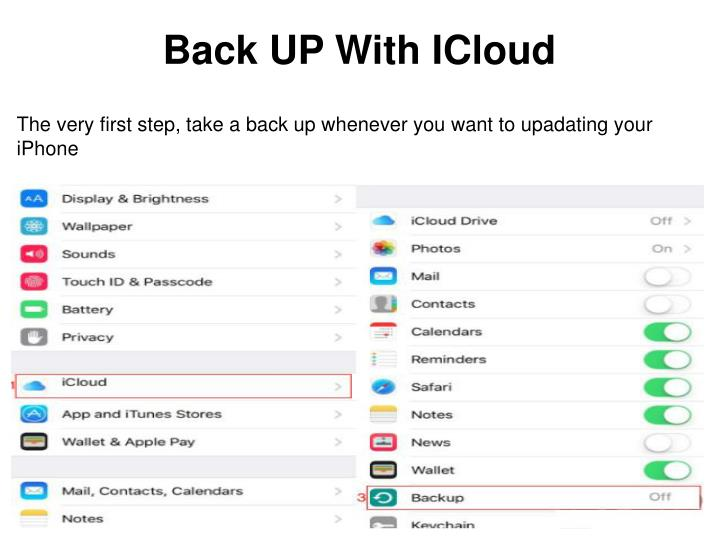 Back up with icloud