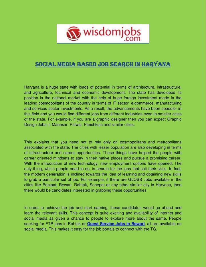 Social Media Based Job Search in Haryana