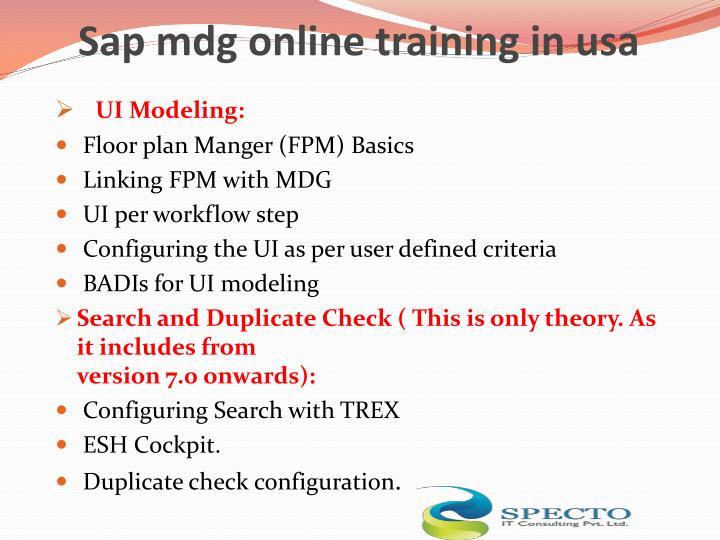 Sap mdg online training in usa